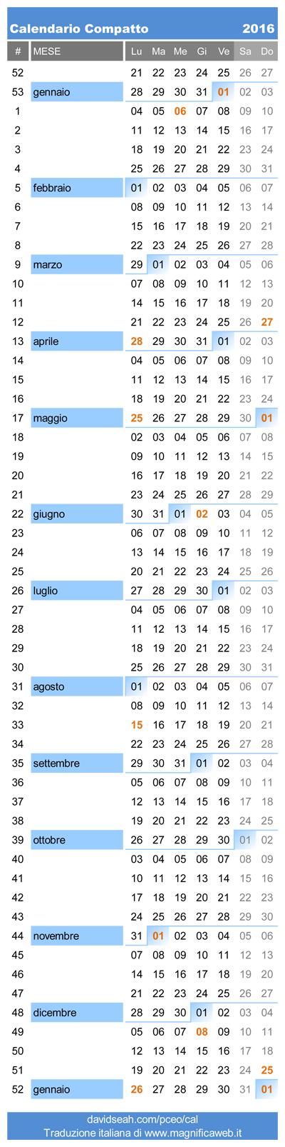 Calendar Excel Sia : Calendario compatto in italiano da stampare excel e pdf