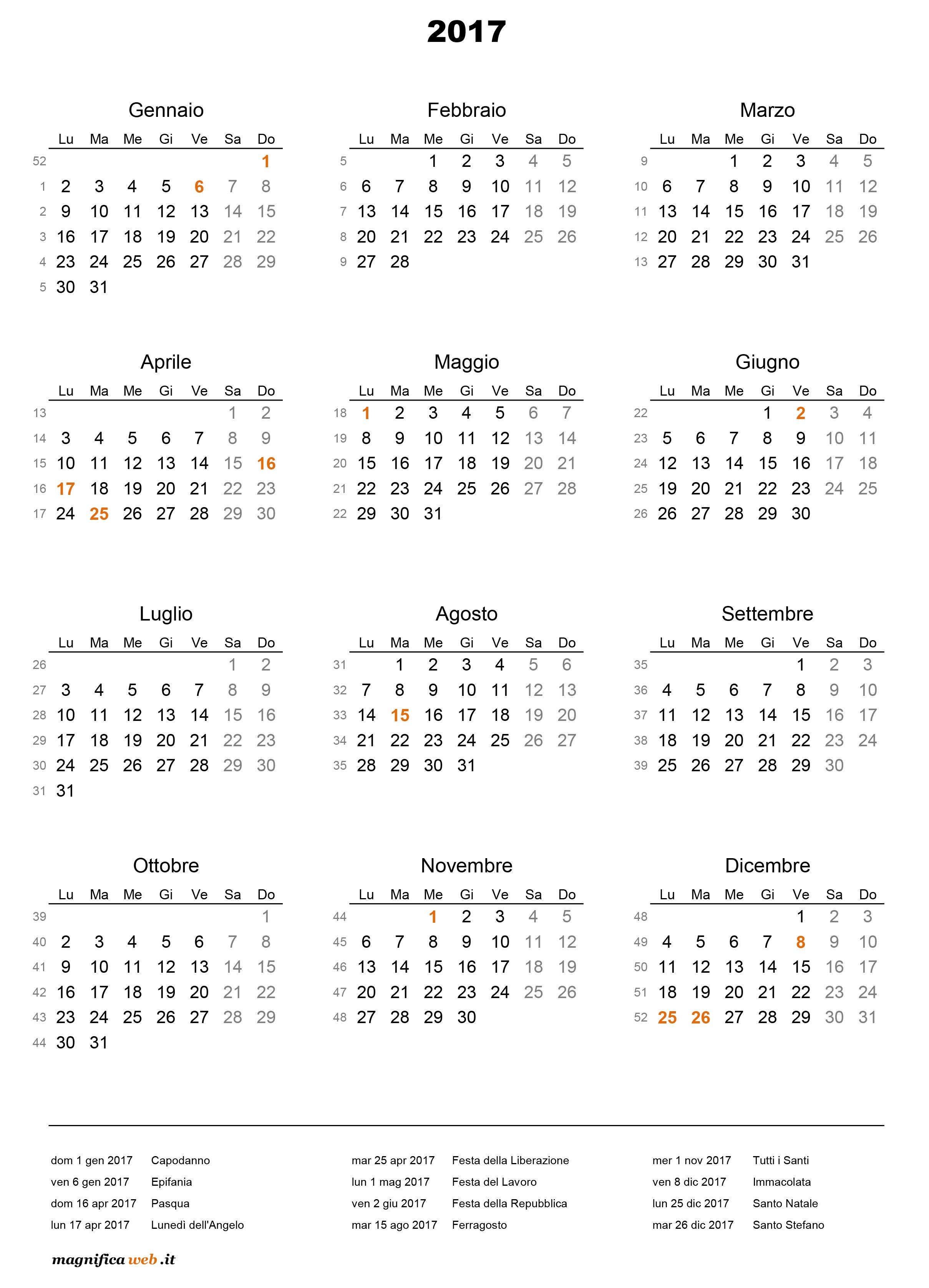 abbastanza ▷ Calendario 2017 con festività da stampare in Excel e PDF RG75