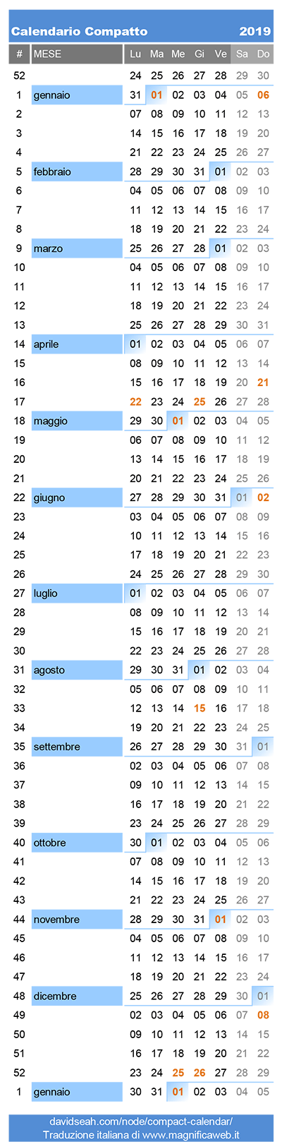 Calendario Annuale 2020 Italiano.Calendario 2019 Compatto Da Stampare In Excel E Pdf Gratis