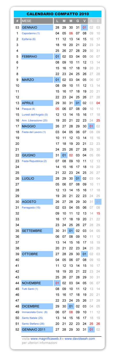 Calendar Excel Sia : Magnificaweb gt calendario compatto in italiano da